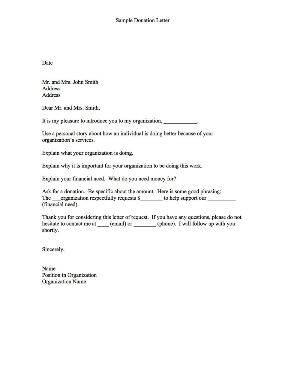 Sample Donation Letter Samples Template Proposal Writing Format