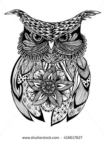 Portrait Of An Owl Owls Head Abstract Bird Print Profile Decorative Stylized Line Art Drawing By Hand Black Owls Head Head Abstract Line Art Drawings