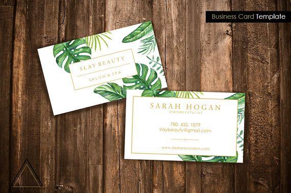 Pre Made Business Card Design Business Card Template Branding Template Banana Leaf Print Tropical Print Card Boutique Logo Business Cards Layout Business Card Design Card Design