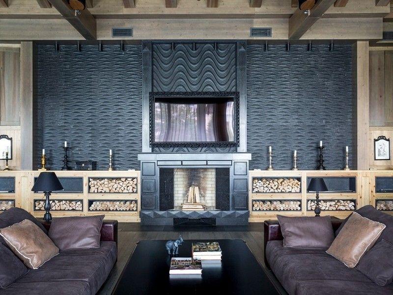 Kaminholz lagern - Wohnzimmer Wohnwand mit Stauraum Livingroom - brennholz lagern ideen wohnzimmer garten