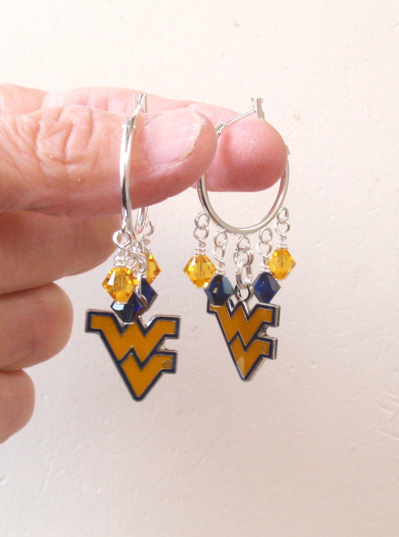 Wvu Earrings West Virginia Mountaineers Jewelry Navy And