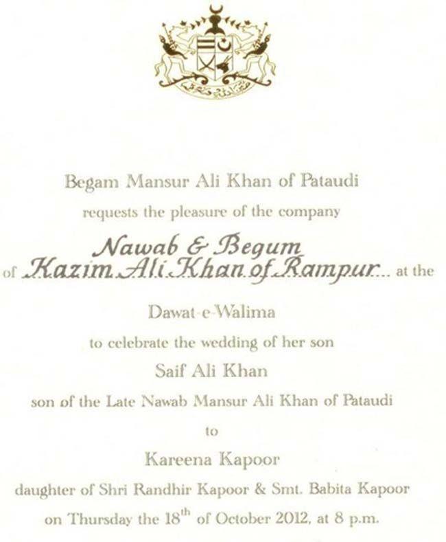 Saifeena Wedding Card Great Minds Discuss Ideas Saif Ali