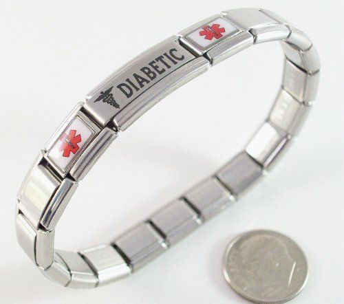 Diabetic Medical Id Alert Italian Charm Bracelet Diabetes Red $27.99 #topseller