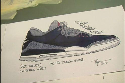 Tinker Hatfield's sketch of the Nike Air Jordan 3
