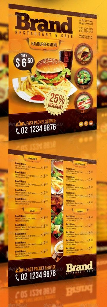 Great Restaurant Food Menu Print Templates  FripIn