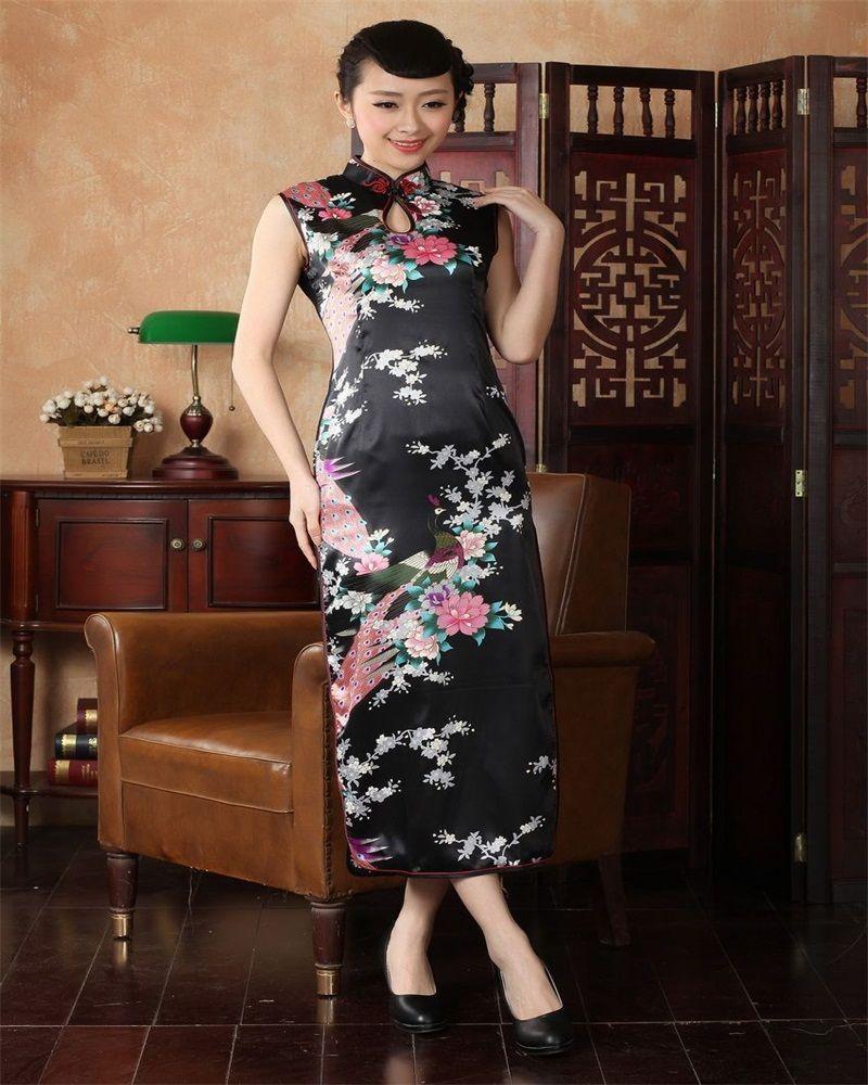 High Fashion Black Chinese Women S Satin Cheongsam Dripping Long Qipao Prom Dress Print Flower Peac Chinese Style Dress Traditional Chinese Dress Chinese Dress [ 1000 x 800 Pixel ]