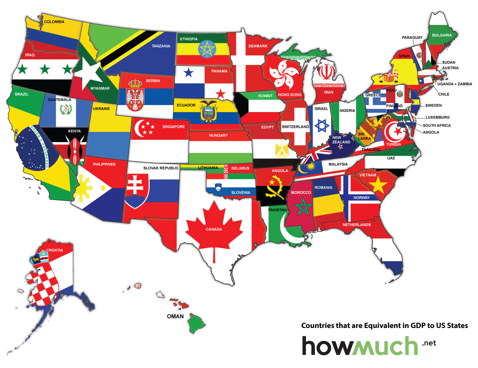 Map Of The Us Redrawn As If The States Were Countries With The Same Economic Activity