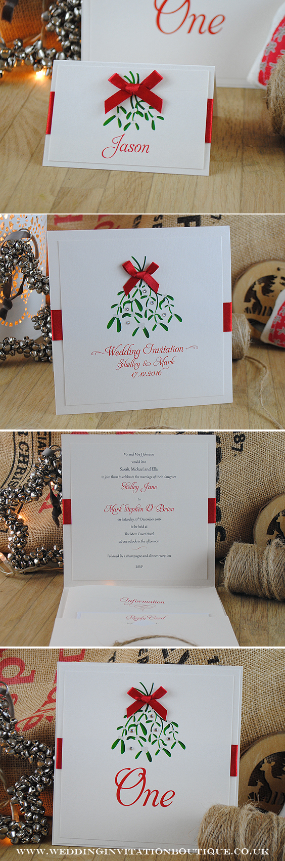 Mistletoe Christmas Wedding Invitations and matching stationery from ...
