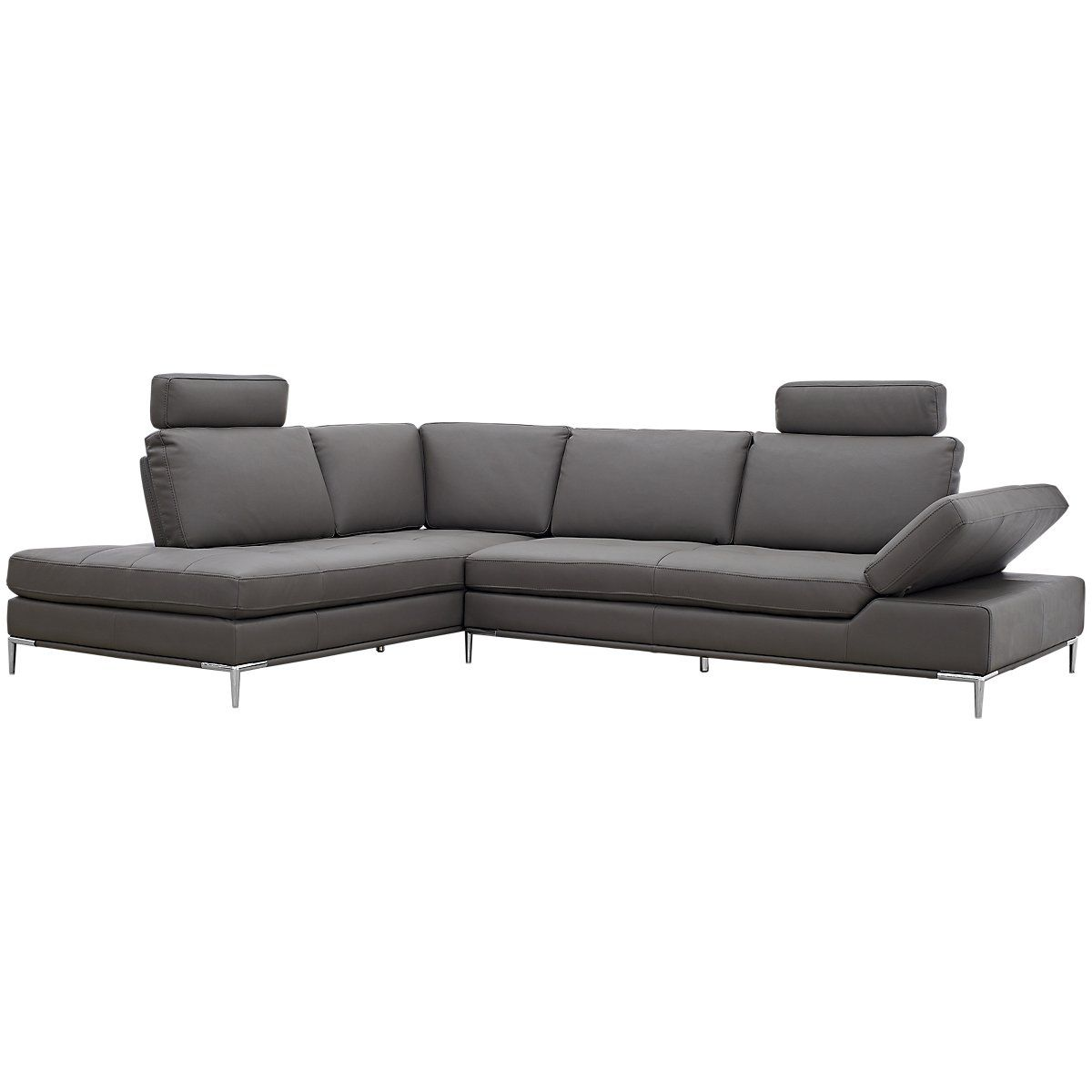 Camden Dark Gray Microfiber Left Chaise Sectional With Removable Headrest Chaise Sectional Living Room Sectional