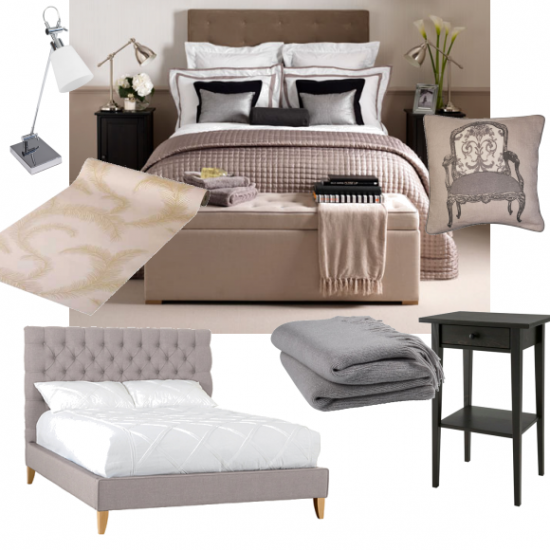 a feminine bedroom with sumptuous textures and metallic accents