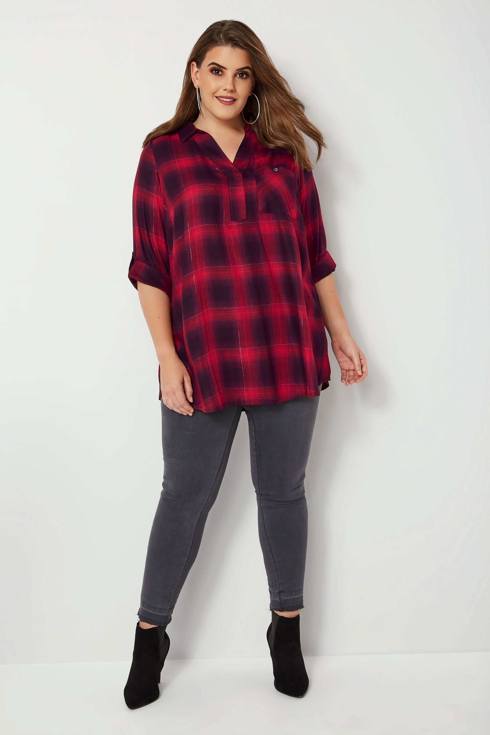 4bbde5ae (2) Red & Black Oversized Checked Shirt With V-Neck & Metallic Thread, plus  size 16 to 36