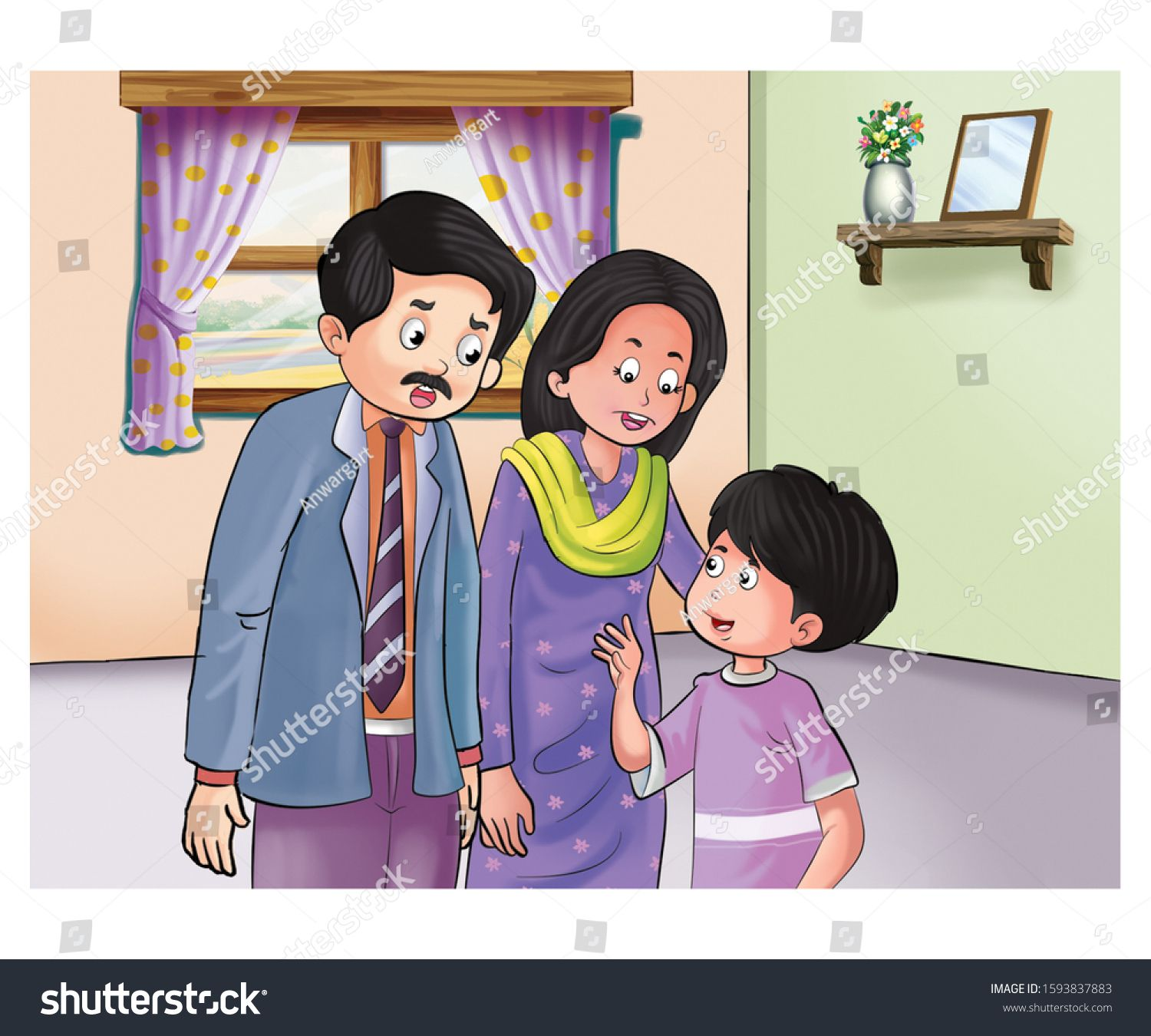 Illustration Father Mother Talking Child Stock Illustration 1593837883 Illustration Cartoon Kids Cartoon Illustration