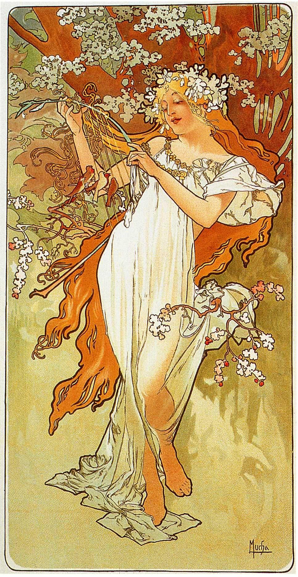"""Alphonse Mucha- Iris 1897-20/""""x48/"""" CANVAS ART Alfons"""