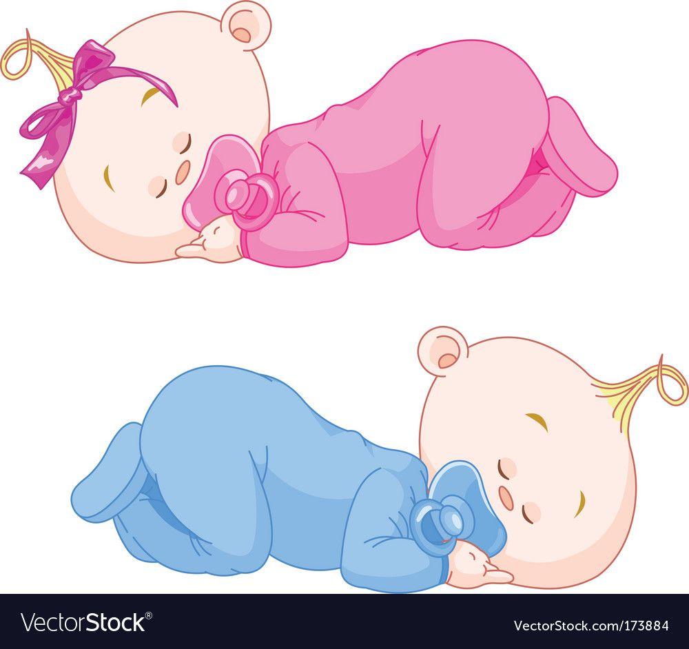 Sleeping Babies Vector Image On Vectorstock Baby Clip Art Baby Girl Art Baby Cartoon