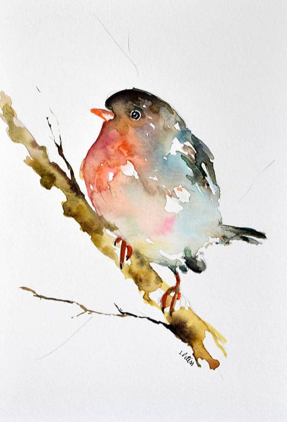 Original Watercolor Bird Painting Christmas Bird Robin On A
