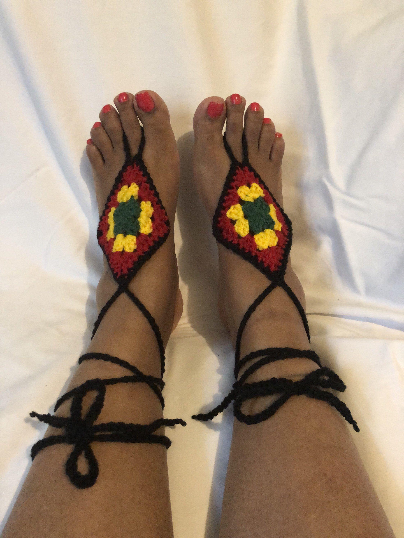 #etsy shop: Rasta sandals, crochet Rasta barefoot sandals #weddingsandals #rastasandals #barefootsandals #rasta #beachsandals #beachwedding