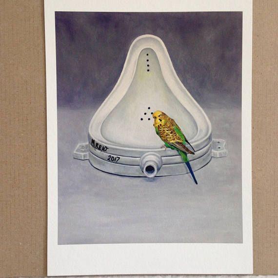 Marcel Duchamp Budgie Pastiche Giclee Print Of Bird Bath