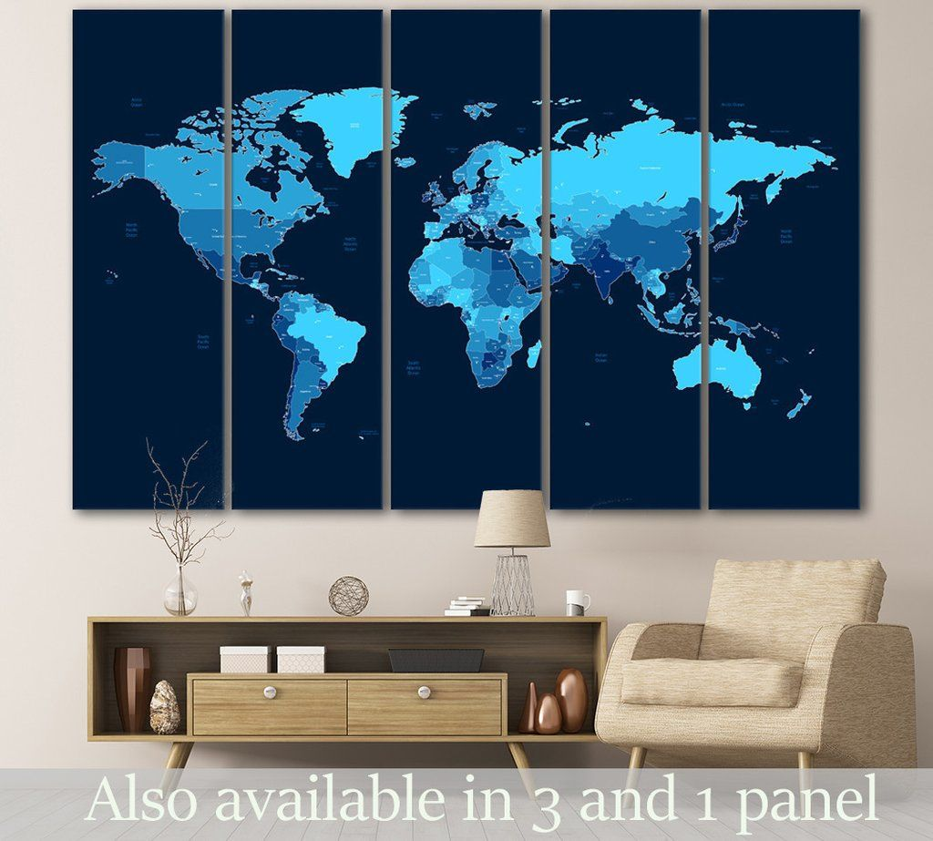 Blue world map 104 wrapped canvas and walls blue world map 104 gumiabroncs Image collections
