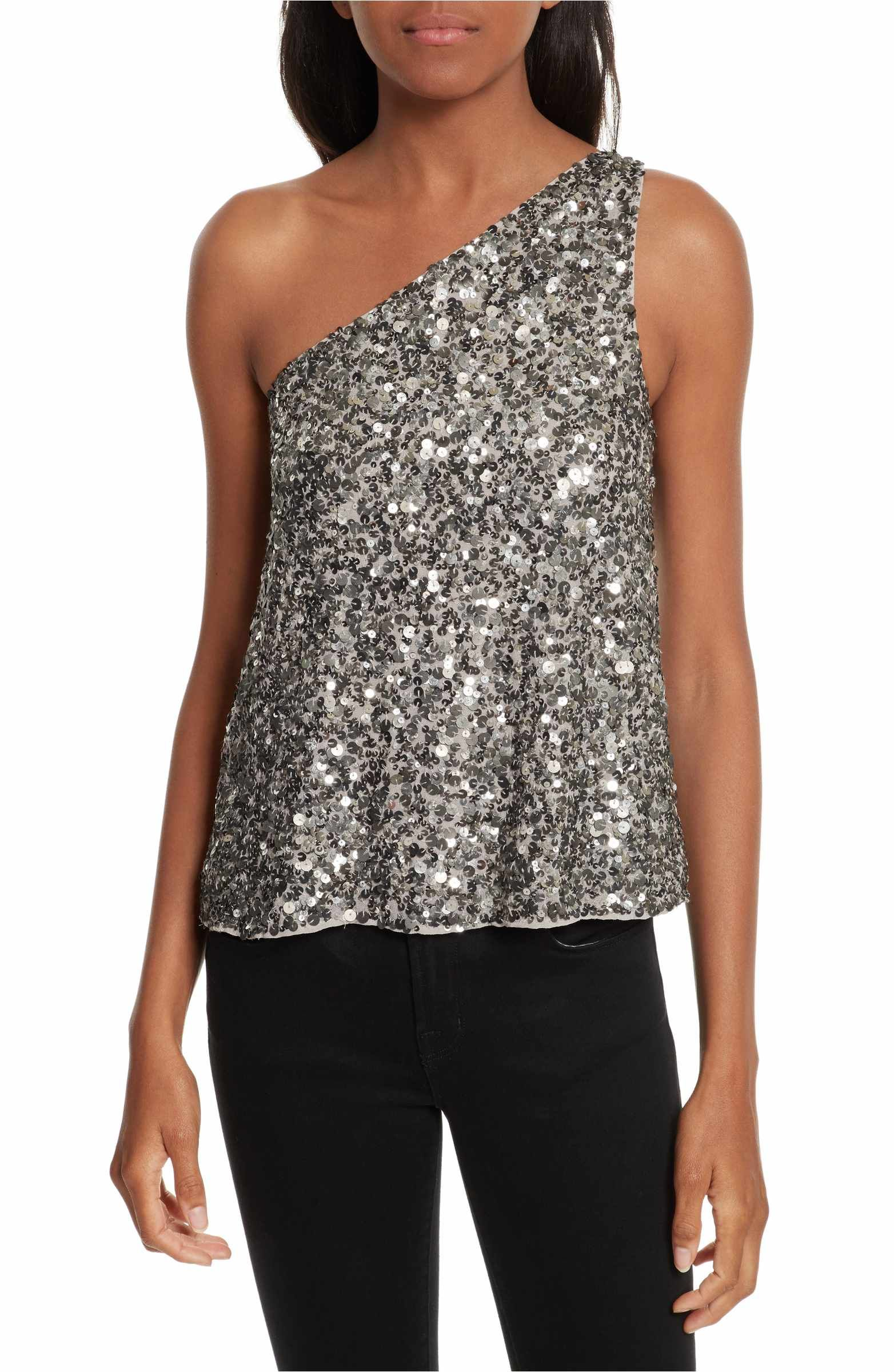 ff3b2b56e99c Main Image - Joie Hedra One-Shoulder Sequin Top   Fashion   Sequin ...