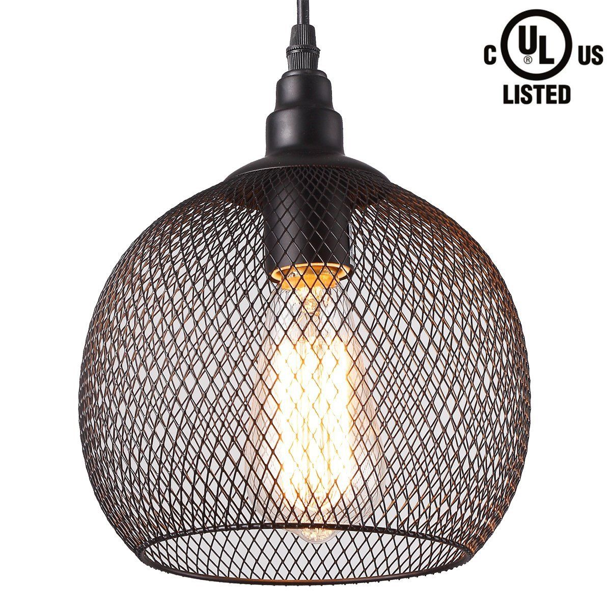 CREALITE Vintage Style 1 Light Chicken Wire Pendant Light with Black ...