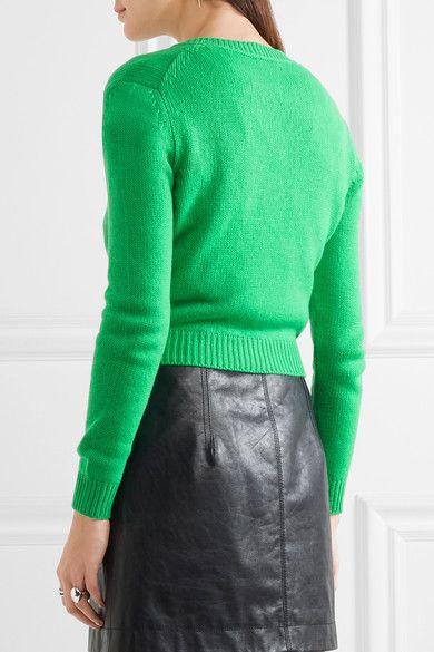 048cf750011c Miu Miu - Cropped Embellished Cashmere Cardigan - Green - IT38 ...