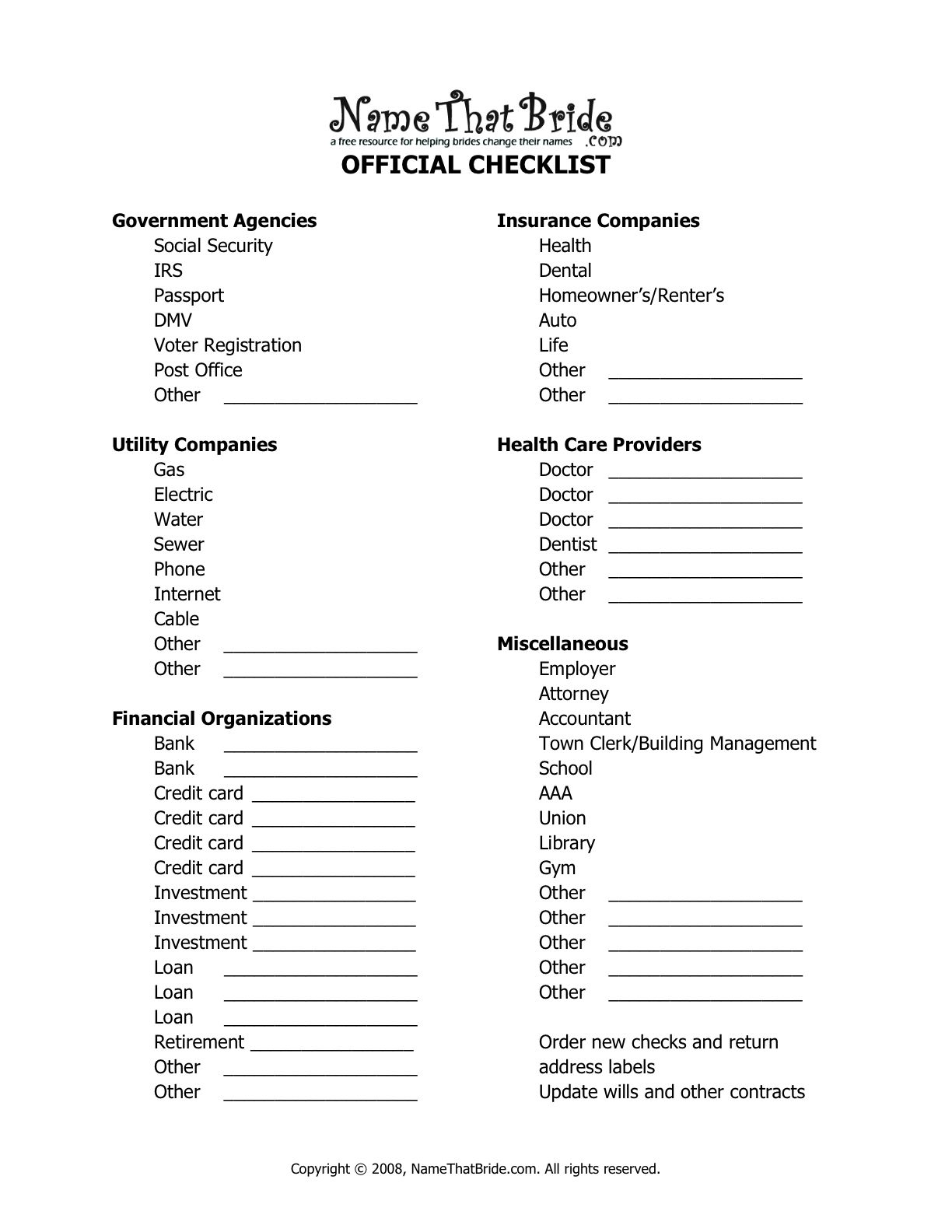 Name Change Checklist Wedding Name Change Wedding Planning