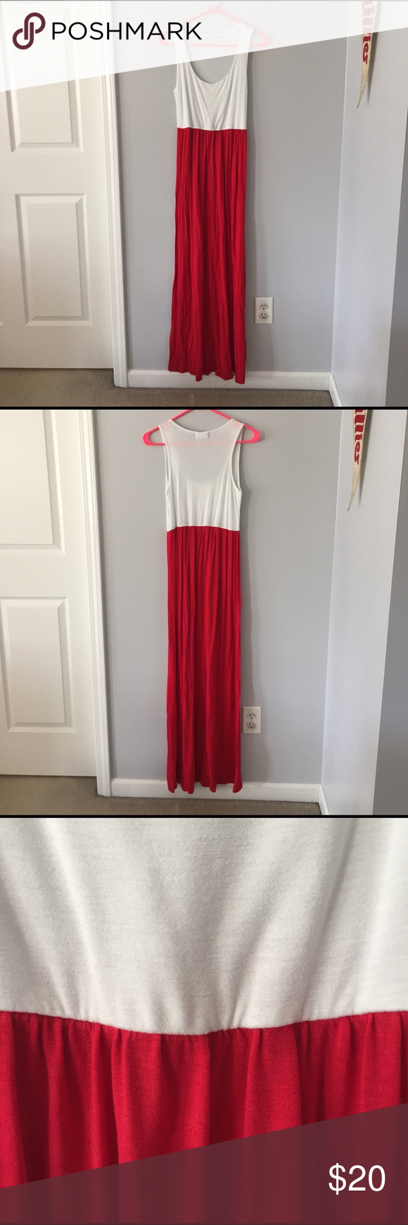 Red & White Maxi Dress Super soft cotton maxi dress from a boutique in Kentucky. Only worn twice, just a little wrinkly from sitting in the closet. I'm 5'3 and the dress comes all the way to the floor. Great with wedges. Offers welcome! No trades. Bluetique  Dresses Maxi