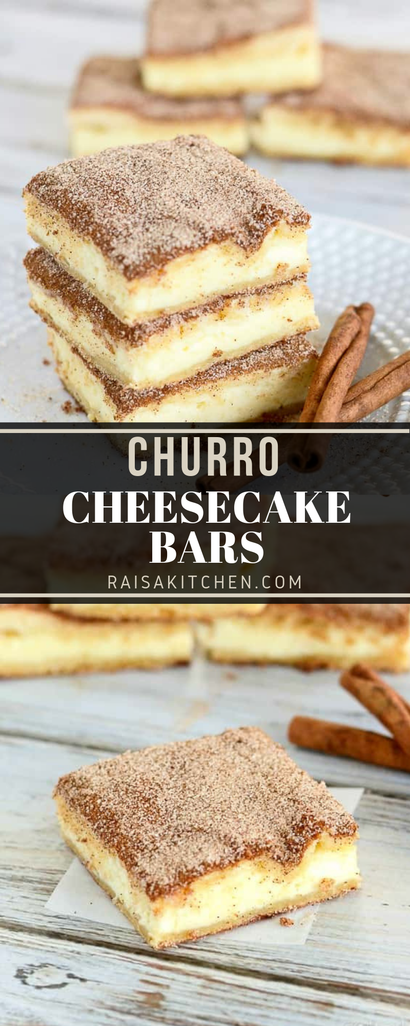 CHURRO CHEESECAKE BARS #churrocheesecake The crunchy cinnamony goodness of a churro filled with a tangy cream cheese filling. The best of two desserts rolled into one! #churrocheesecakebars