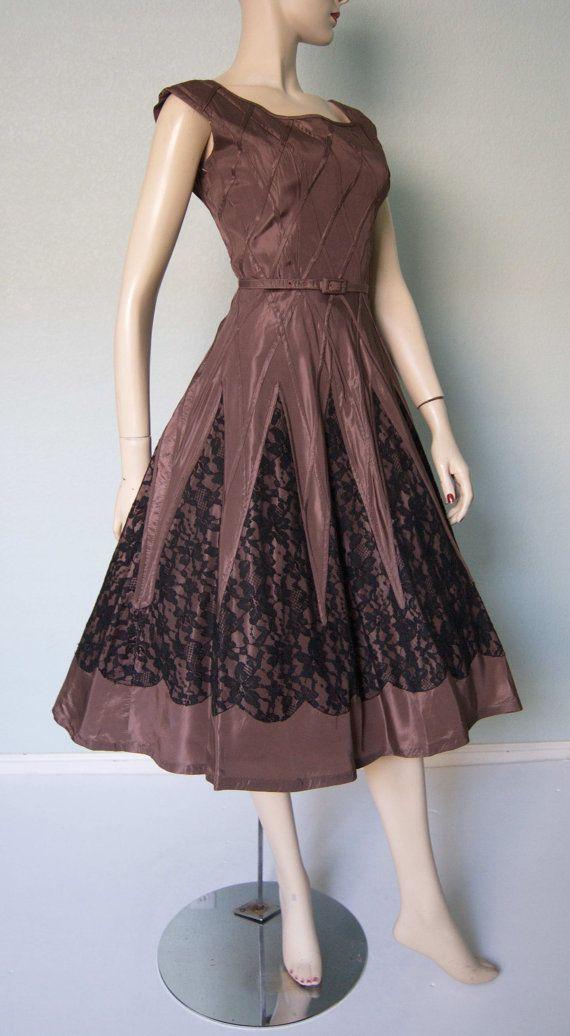 Unique 1950s Mocha Taffeta New Look Party Dress // Black Lace Inset // Lattice…