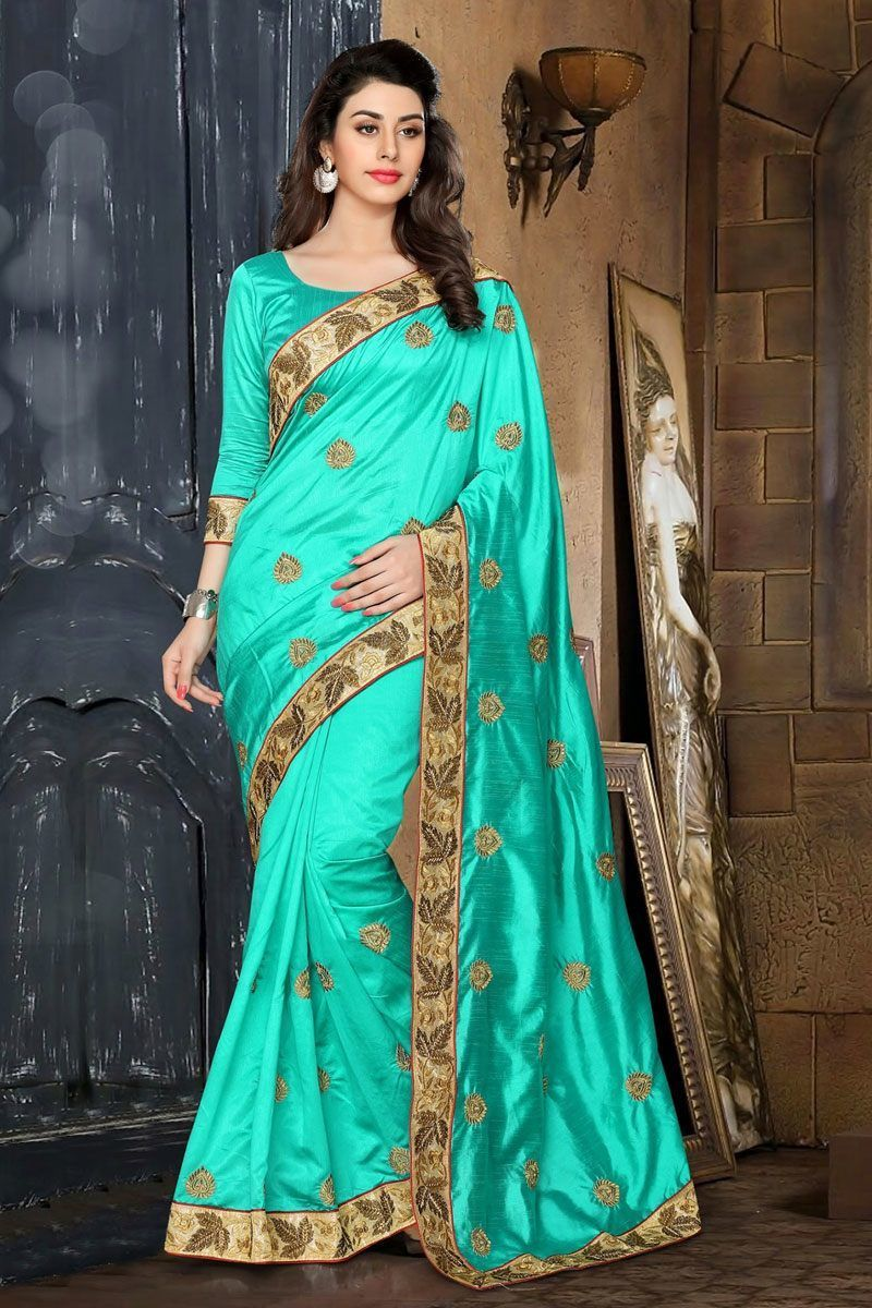 chochlatee color pink blouse embroidery work partywear silk cream border light blue color embroidery work partywear silk saree only rs 1500