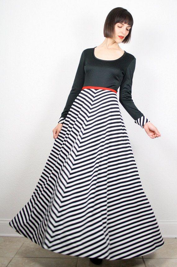 Vintage 70s Dress Maxi Dress Black White
