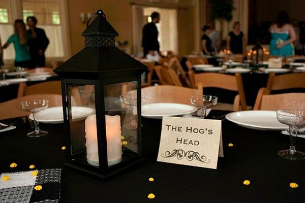 Potter themed wedding tables named after locations in the