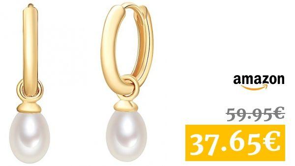 a8216f1a53be Valero Pearls - Aros con cierre embellecidos con Perlas de agua dulce - 925  Plata esterlina