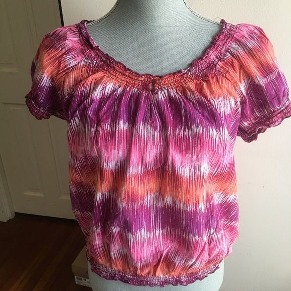 Coral and Purple Peasant Top Cotton top. Elastic around arms and hem. Two button closure at neck. Gently worn. No holes stains or tears. St. John's Bay Tops