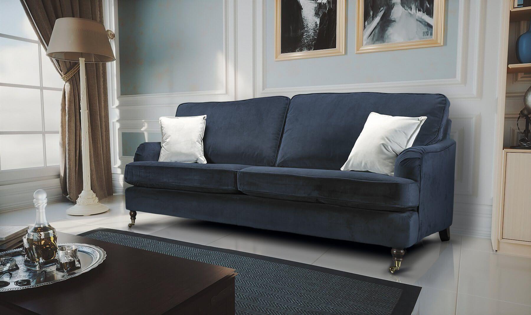 Velvet Dark Blue Navy 3 Seater Astbury Bella Sofa Sofa Single