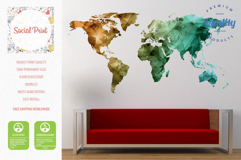 World map wall decal bronze green teal free shipping easy world map wall decal bronze green teal free shipping easy install home decoration gumiabroncs Choice Image
