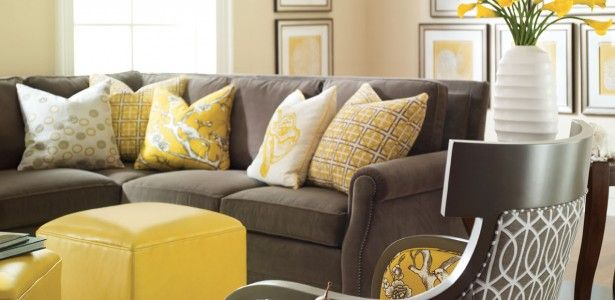 Bright Living Room Design With Gray Sofa And Yellow Pillows Also