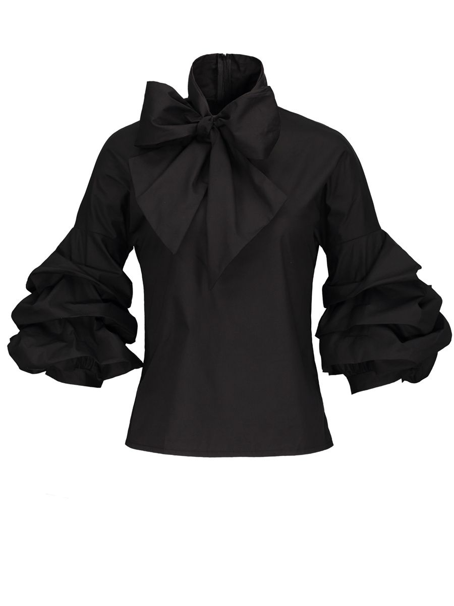 Pleated Bowknot Puff Sleeve Women s Blouse  f229a29934765