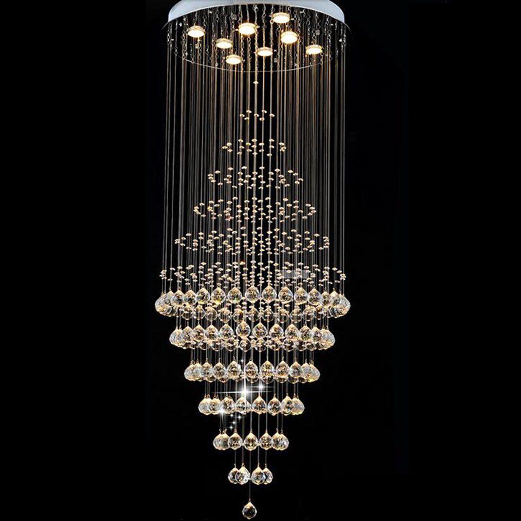 Linght Modern Crystal Chandelier Rain Drop Rhombus Design Ceiling Light Fixture D23 6 Inchx H59 Crystal Chandelier Lighting Cool Chandeliers Cheap Chandelier