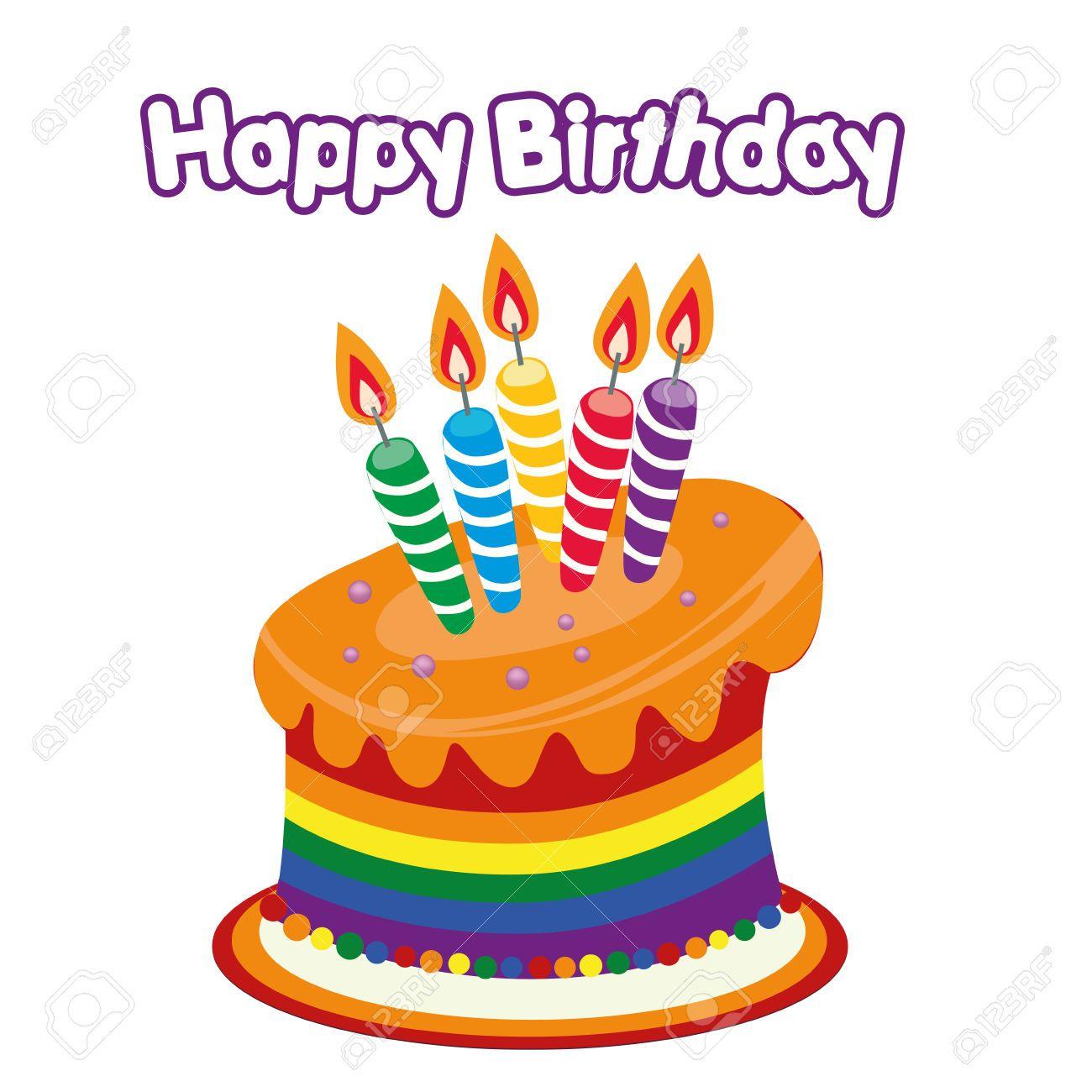 Birthday Cake Clip Art Vector : Happy Birthday Cake Clipart a Colored Happy Birthday Cake ...
