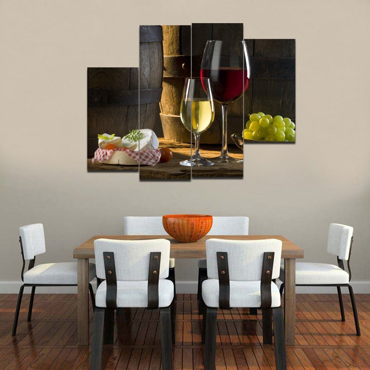 Wine Decor Wall Art rain queen canvas print modern abstract wine cake grape kitchen
