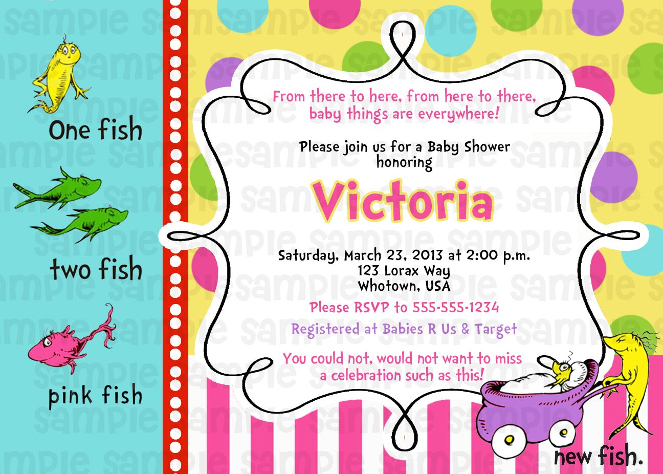 Dr Suess One Fish Two Fish Pink Baby Shower Invitation