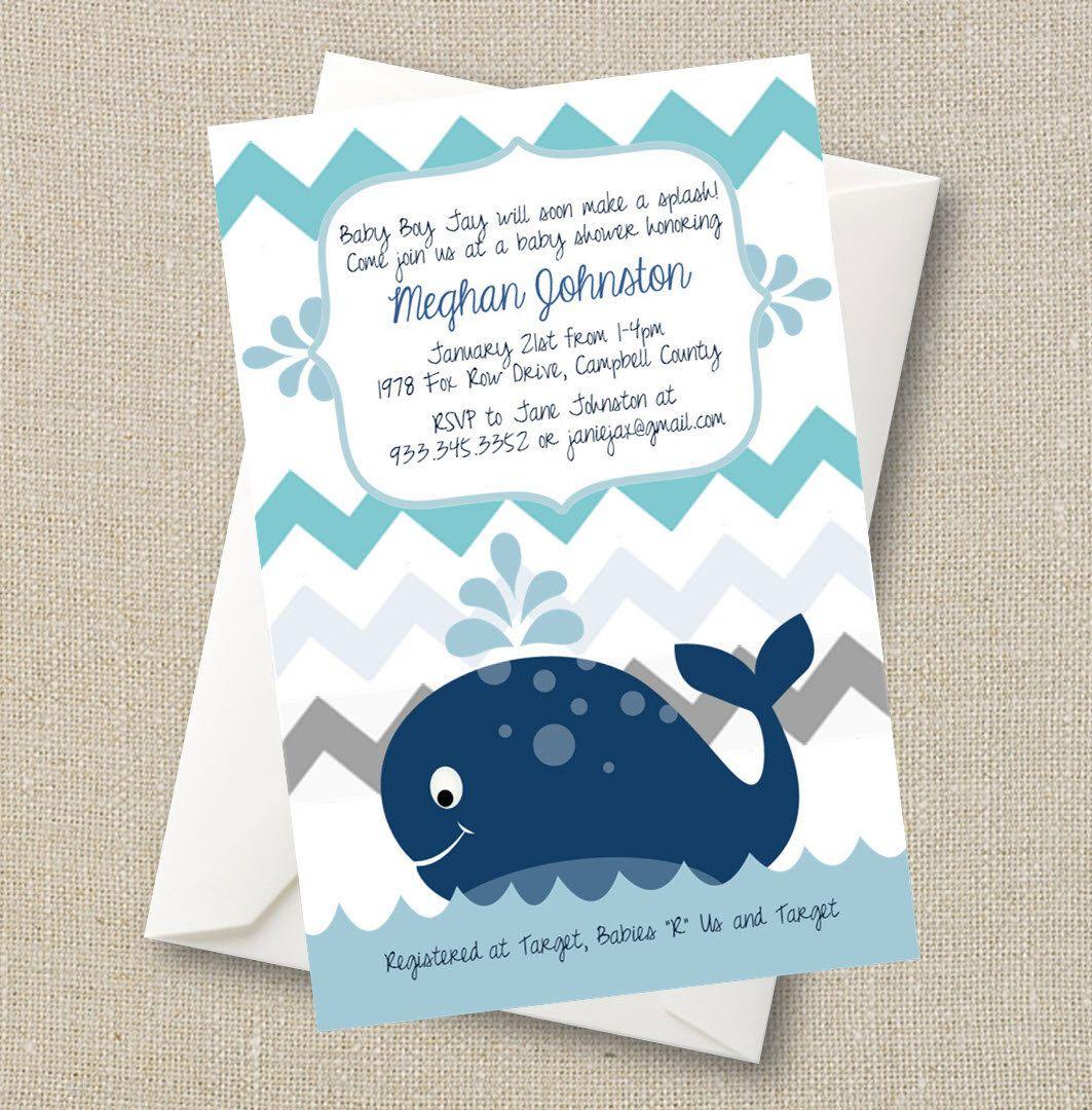 Whale Baby Shower Invitation - a Splash of Boy Blue Chevron Digital ...