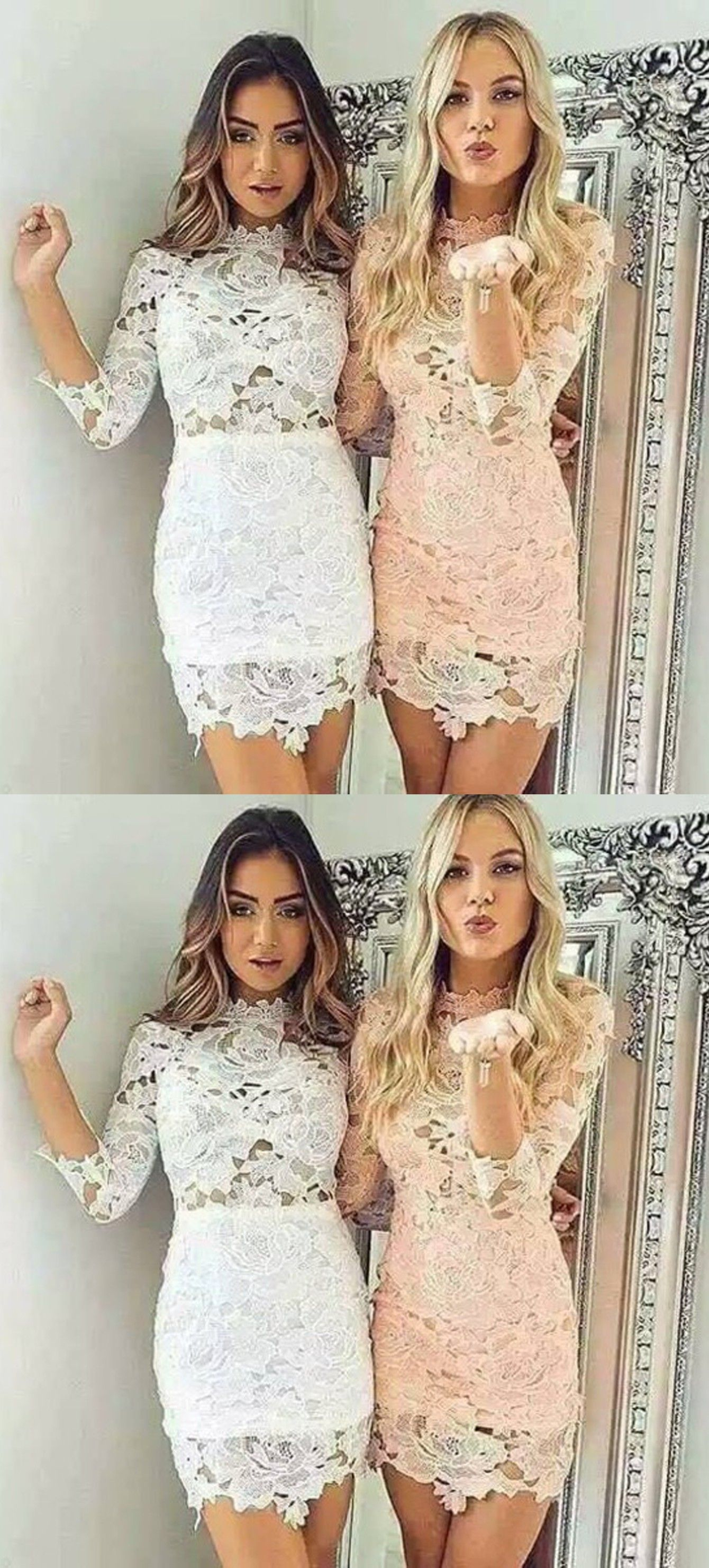 Tight scallopededge whitepearl pink short lace homecoming dress