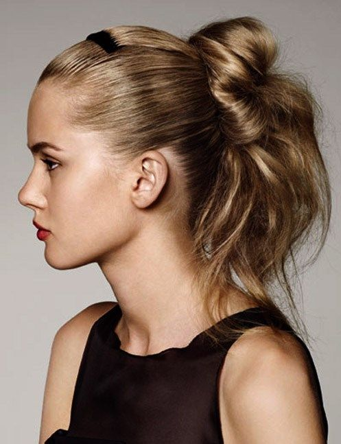 Fast Loose Bun Ponytail Hairstyles With Hair Comb For Long Hair In Side  View 2016