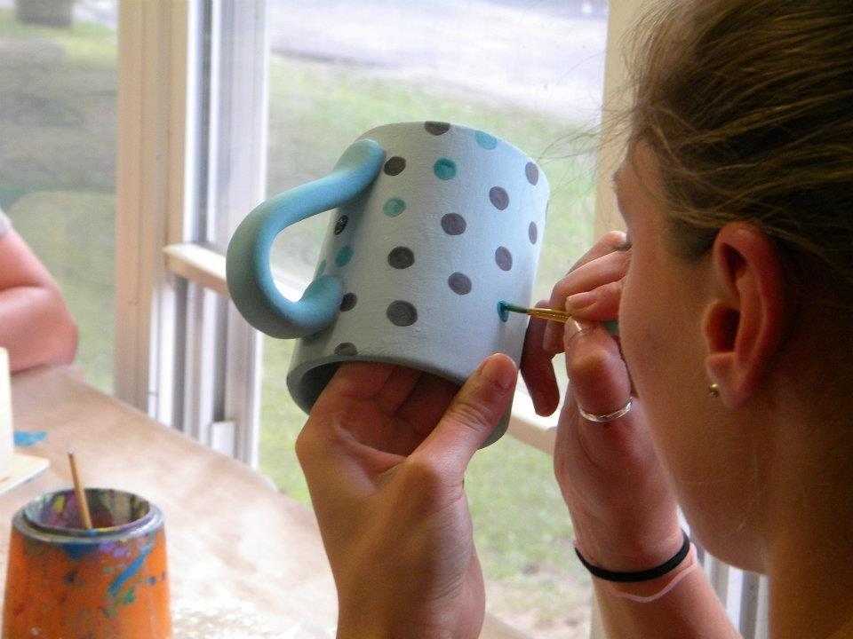 blue glazed mug in the making