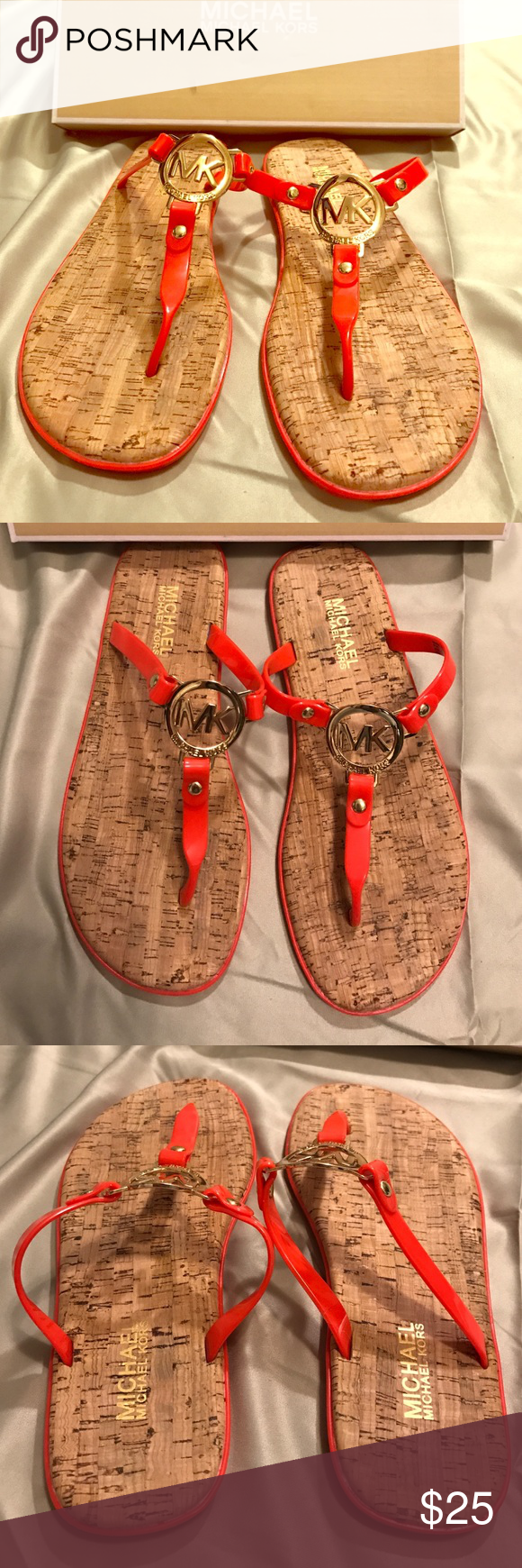 NEW Michael Kors Cork Sandals Michael Kors sandals, red jelly with cork. Price is non-negotiable. Come with box. MICHAEL Michael Kors Shoes Sandals
