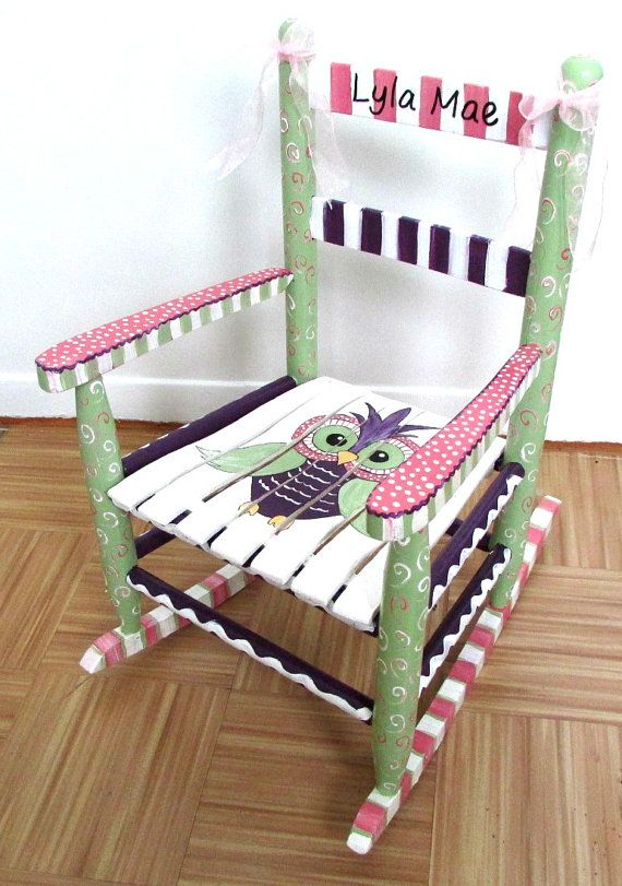 painted rocking chair nursery. hand painted child rocking chair, custom painted, owl chair- i have something like this in my daughters nursery, now to find someone paint it! chair nursery