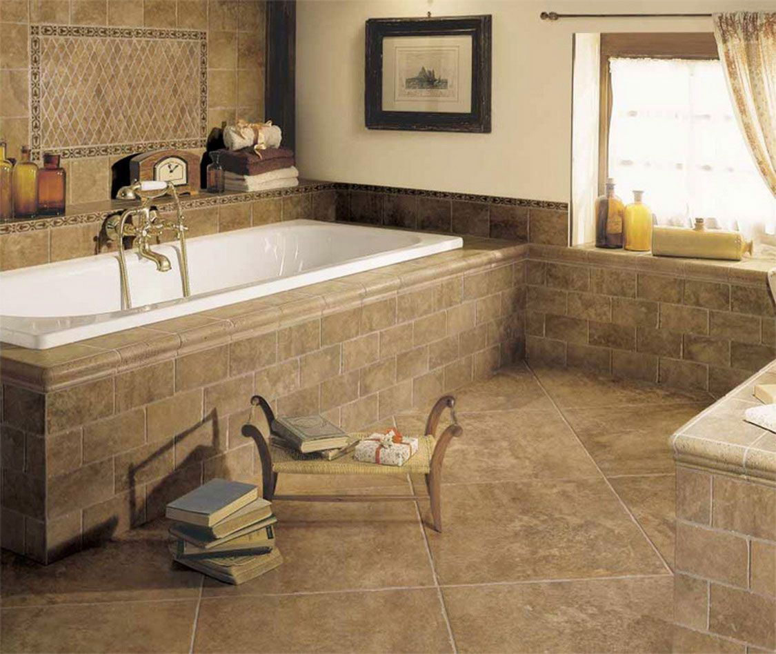 Tan tile bathroom ideas luxury brown bathroom tile for Brown bathroom ideas