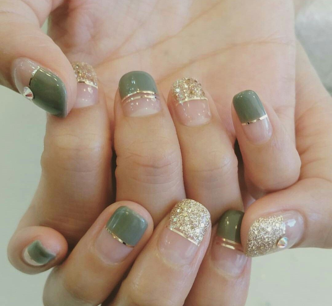 Beautiful French Nail Art Designs: Gold And Green Coordination Deep French Nail